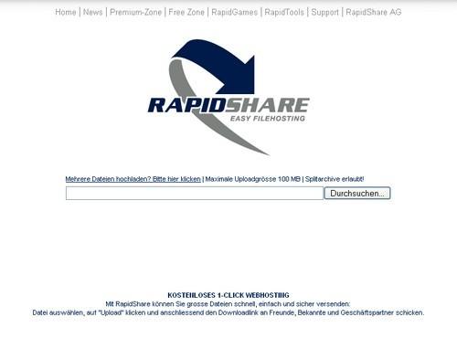 Screenshot vom neuem Design von Rapidshare.com