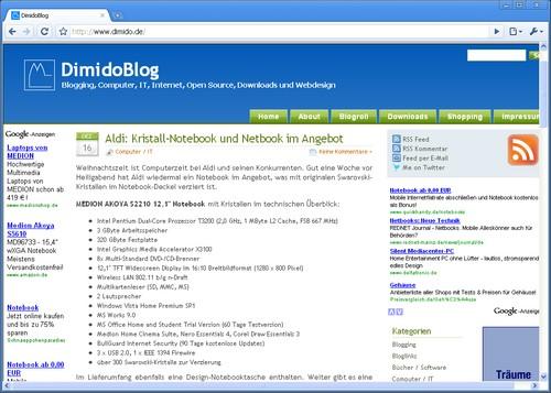 Screenshot von Browser Iron mit geöffneten Blog - DimidoBlog