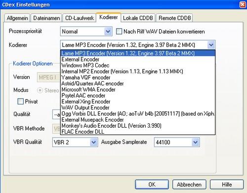 CDex 1.70b2 - Auswahl der unterstützten Formate