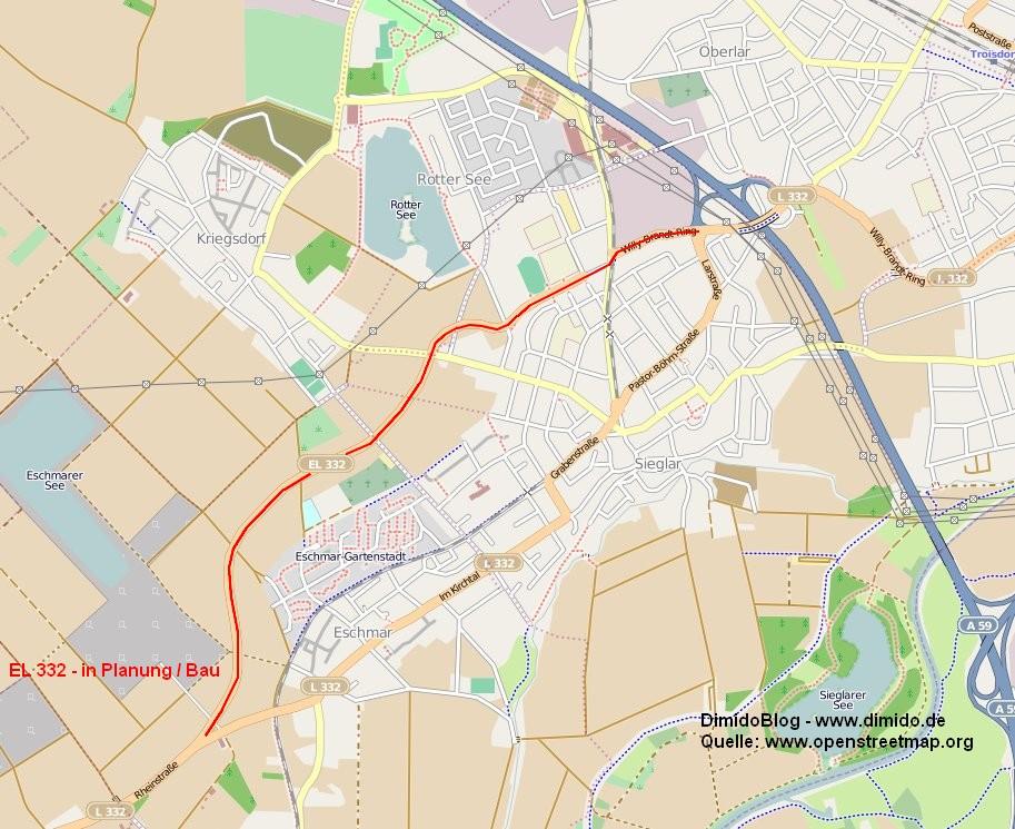 Karte von Troisdorf mit EL 332 - Quelle: OpenStreetMap