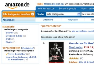 Amazon - Screenshot einer Suchanfrage
