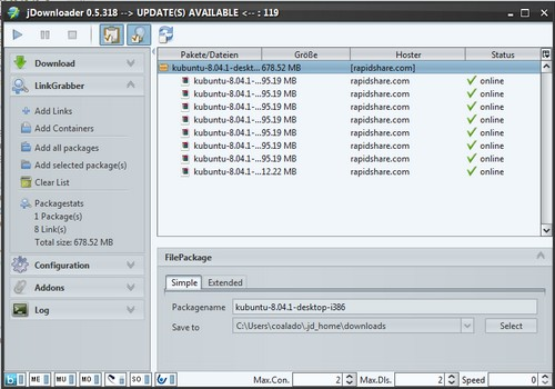 JDownloader 0.5.xx - Linkgrabber mit Drag'n'Drop als Screenshot
