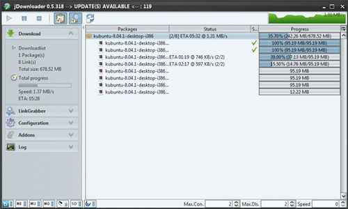 JDownloader 0.5.xx - Neue Sidebar als Screenshot