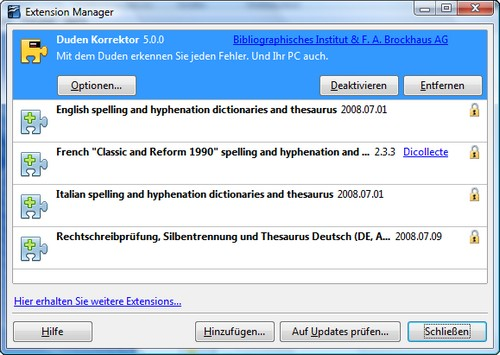 Extension Manager von OpenOffice.org - Screenshot