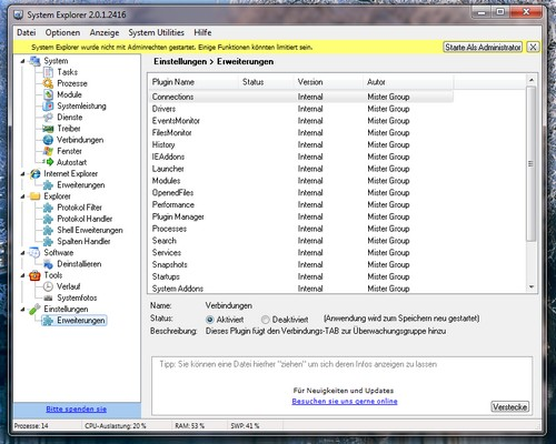 Screenshot vom System Explorer unter Microsoft Windows 7