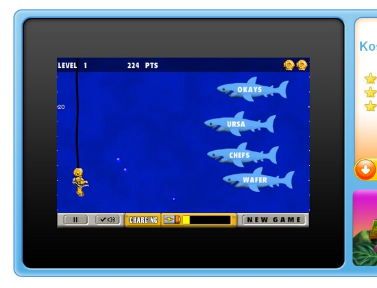 Flash-Game Typer Shark in Aktion