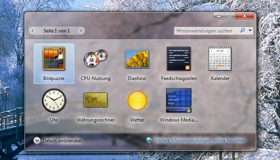 Minianwendungen, Gadgets unter Microsoft Windows 7