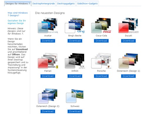 Themes - Microsoft Windows 7 und Windows Vista