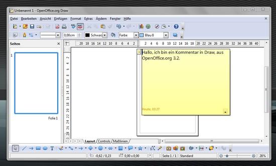 Kommentarefeld in Draw von OpenOffice.org 3.2