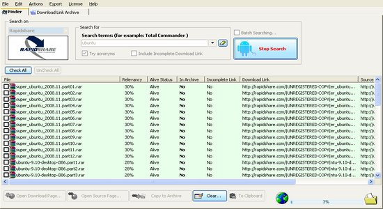 Snapshot des Windows von Rapidshare Seach Tool