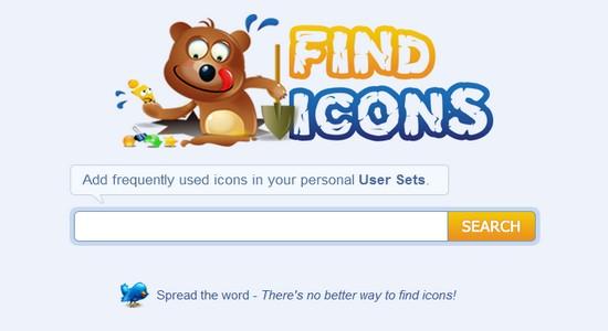 FindIcons Titelseite und Homepage