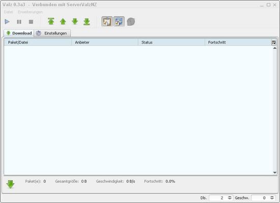 Screenshot von Valz in Aktion