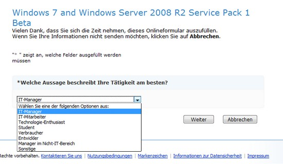 Download Service Pack 1 Beta bei Microsoft