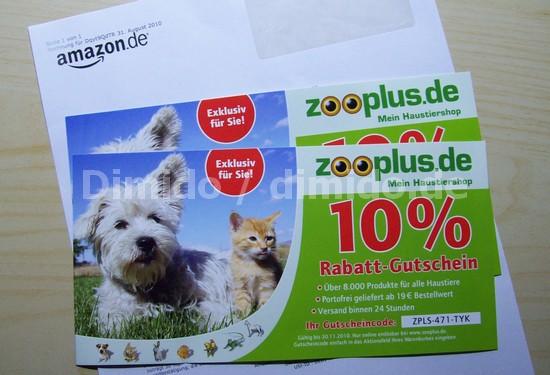 Gutschein im Amazon-Lieferumfang von Zooplus