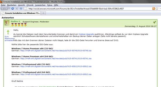 Windows 7 DVDs als ISO herunterladen, Download von Windows