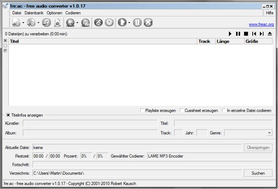 fre:ac – Free Audio Converter und Audio-CD Ripper