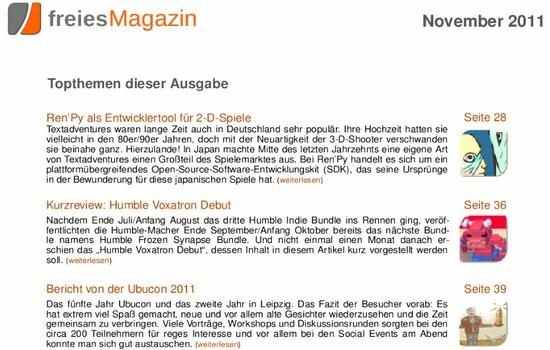 freiesMagazin 11/2011 – Über Ubuntu, Linux und Open Source