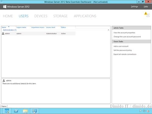 User Verwaltung - Windows Server 2012 Essentials Beta