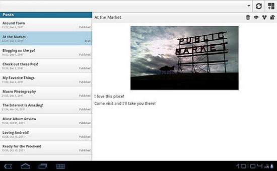 WordPress App für Android - Artikel-Übersicht auf Android Tablet
