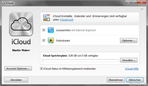 Windows iCloud Control Panel: Apple-Cloud für Windows