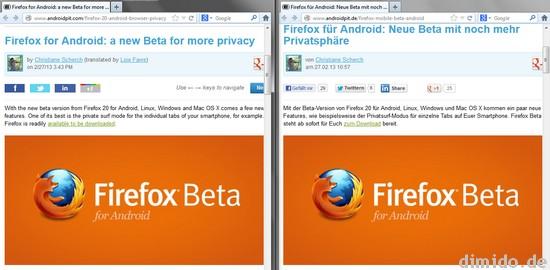 Sprachvergleich von Nachrichten über Firefox in Deutsch und Englisch